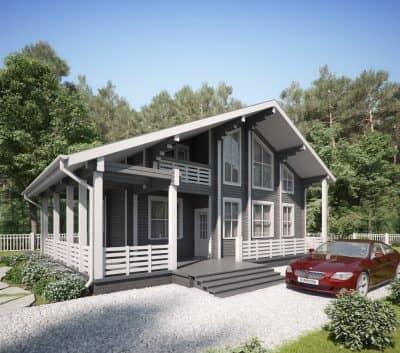 «Владимир» — проект двухэтажного загородного дома из профилированного сухого клееного бруса под ключ