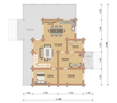 Проект загородного дома из профилированного бруса «Владимир»