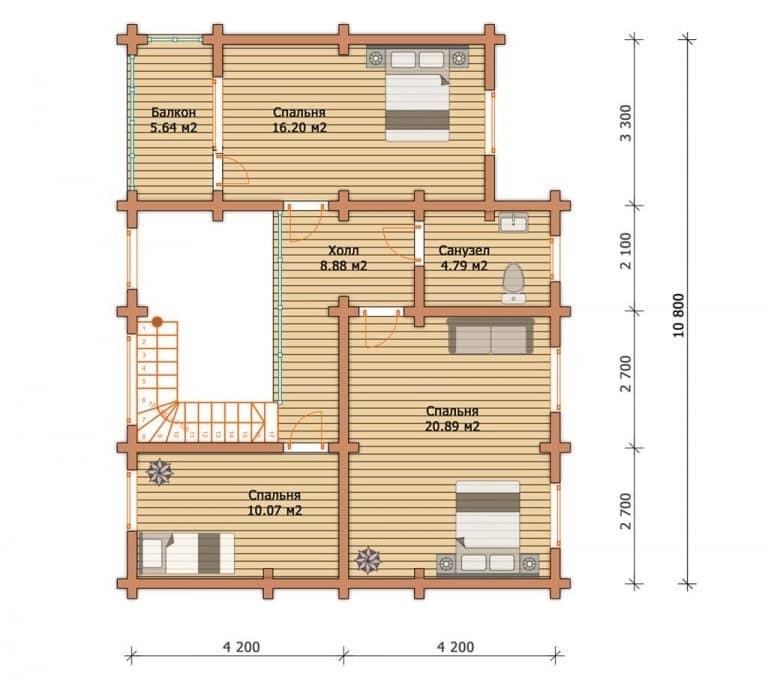 «Владимир» — проект двухэтажного загородного дома из бруса