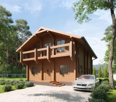 «Юбилейный» — проект двухэтажного загородного коттеджа из профилированного сухого бруса под ключ