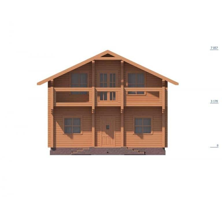 «Юбилейный» — проект двухэтажного коттеджа из бруса
