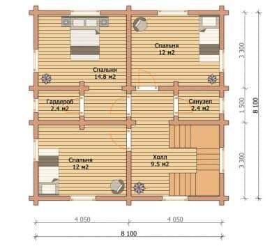 Проект дом — баня из профилированного бруса «Жуков»