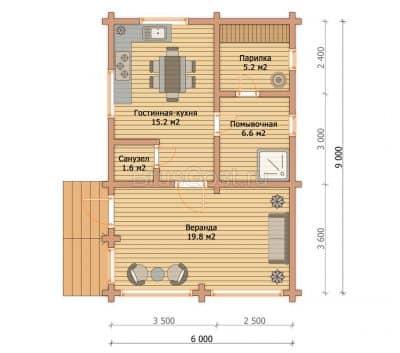 «Ченцы» — проект одноэтажной бани из профилированного сухого бруса с крыльцом под ключ