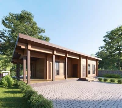 «Луховицы» — проект одноэтажной бани с верандой из профилированного сухого клееного бруса под ключ