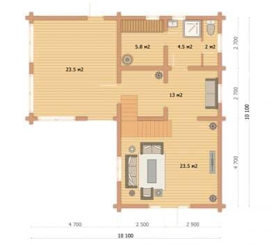 «Архангельск» проект двухэтажный дом-баня из профилированного сухого клееного бруса под ключ
