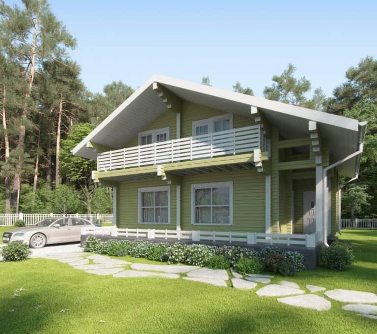 «Деулино» — проект двухэтажного дачного дома для постоянного проживания из клееного бруса под ключ