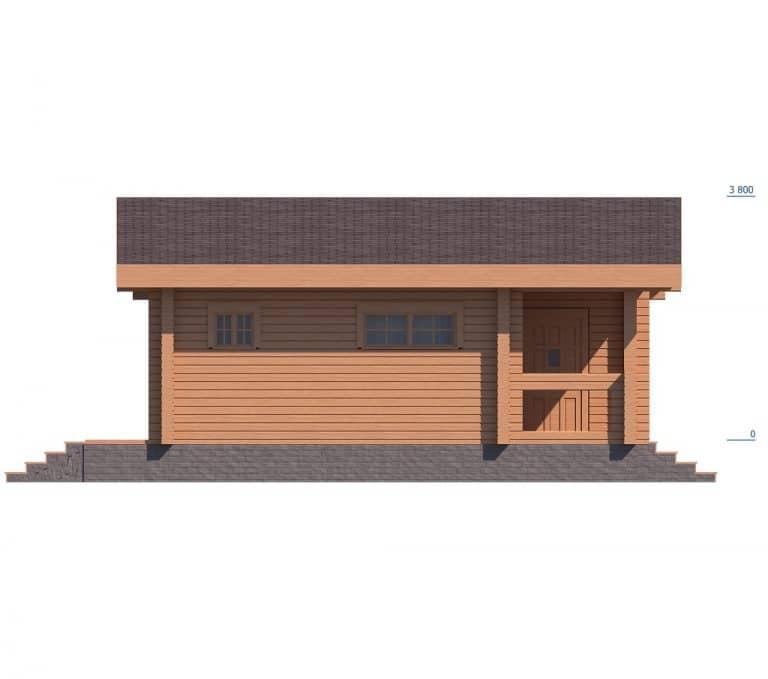 «Дрезна» — проект одноэтажной бани с верандой из профилированного бруса