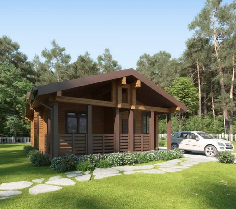 «Дубна» — проект одноэтажный дом-баня для постоянного проживания из профилированного под ключ