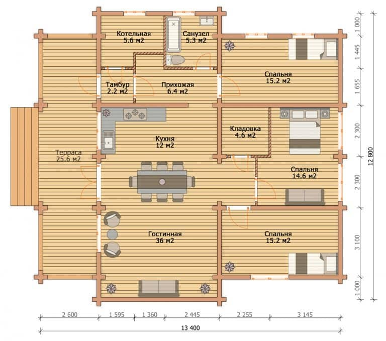 «Клин» — проект одноэтажного дома для постоянного проживания из клееного бруса под ключ