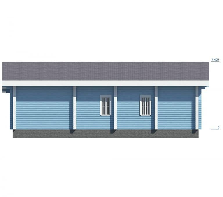 «Ожерелье» — проект одноэтажного загородного дома с верандой из сухого бруса 9.7х12.1 м под ключ