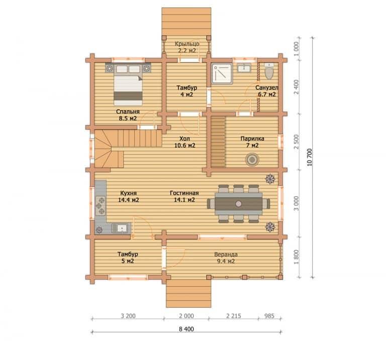 «Покров» — проект двухэтажного загородного дома из профилированного бруса 8.4х10.7 м под ключ