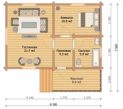 «Пущино» — проект одноэтажного дачного дома с верандой из профилированного сухого бруса  7х8 м под ключ