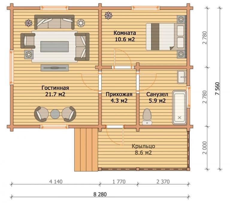«Пущино» — проект одноэтажного дома с верандой из бруса