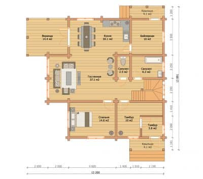 «Троицк» — проект двухэтажного дома для постоянного проживания из профилированного сухого бруса под ключ