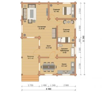 Проект дома из бруса профилированного «Чехов»