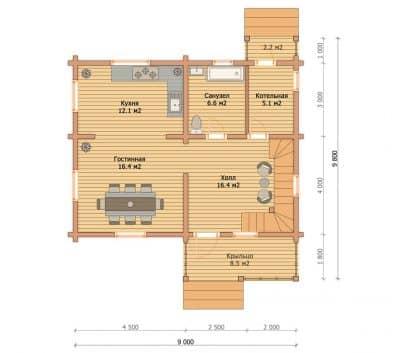 Проект дома из профилированного бруса «Ногинск»