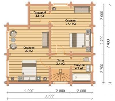 «Пересвет» — проект двухэтажного загородного дома для постоянного проживания из профилированного сухого бруса под ключ