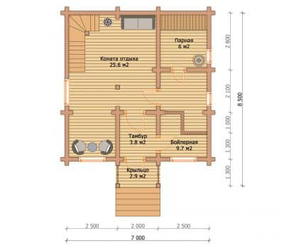 Проект дачного дома из бруса профилированного «Воскресенск»
