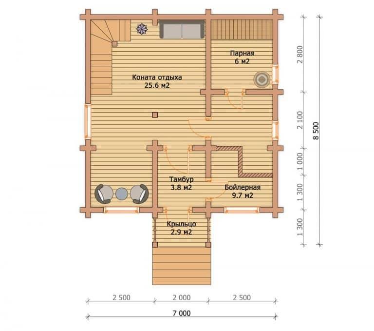 «Воскресенск» — проект двухэтажного дачного дома для постоянного проживания из профилированного бруса под ключ