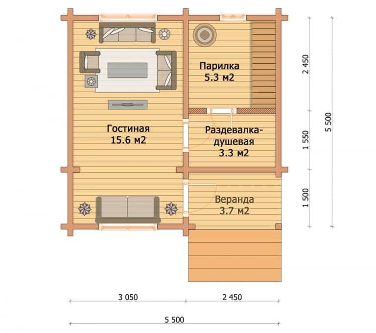 «Протвино» — проект одноэтажной бани из бруса