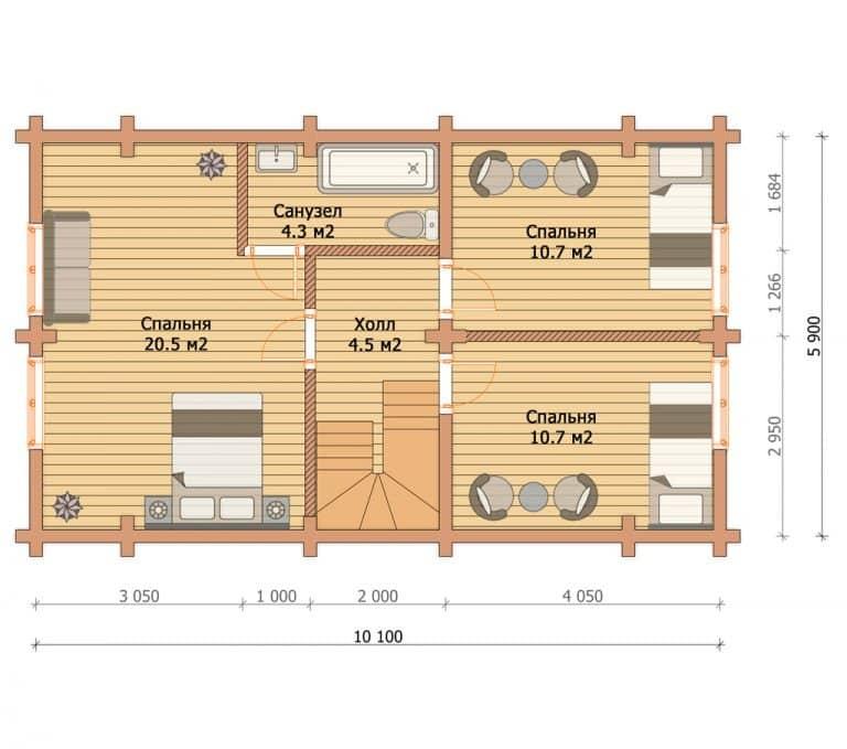 «Ростов» — проект двухэтажного дачного дома из сухого бруса 5.9х10.7м под ключ