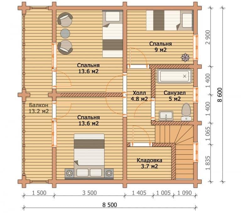 «Жуковский» — проект двухэтажного загородного дома из клееного бруса под ключ