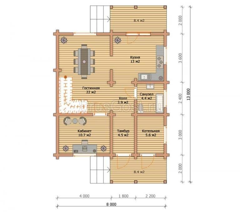 «Радонеж» — проект двухэтажного дома из бруса