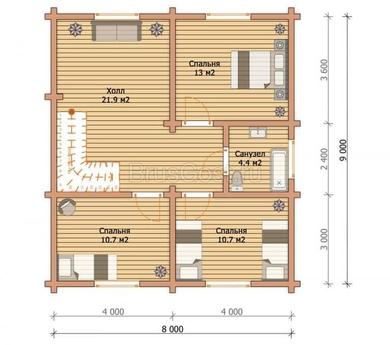 «Радонеж» — проект двухэтажного коттеджа из сухого бруса под ключ