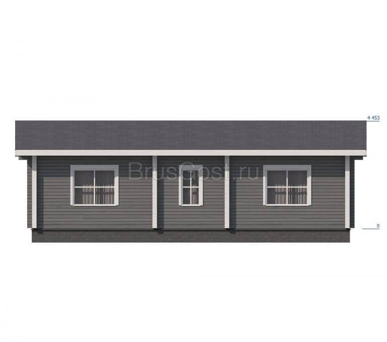 «Яхрома» — проект загородного одноэтажного коттеджа из клееного бруса под ключ