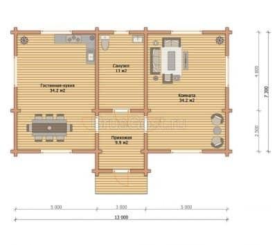 «Яхрома» — проект загородного одноэтажного коттеджа из профилированного сухого бруса под ключ