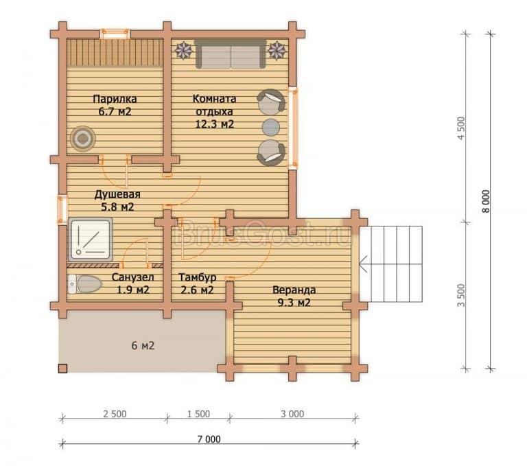 «Куровское» — проект одноэтажной бани с верандой из сухого бруса 6х6 м