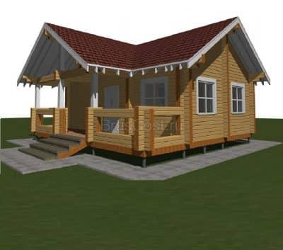 Проект дом-баня из профилированного бруса «Икша»
