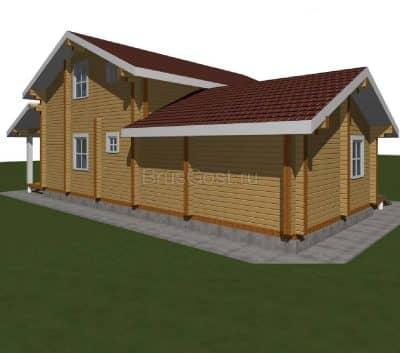 Проект дом-баня из бруса профилированного «Софрино»
