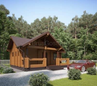 «Икша» — проект одноэтажный дом-баня для постоянного проживания из профилированного бруса 7х8 м под ключ