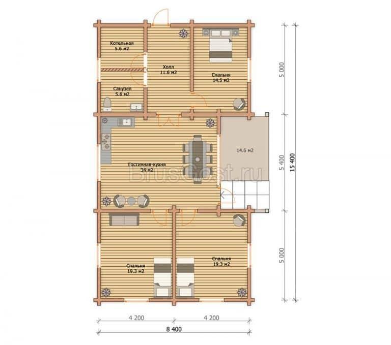 «Реутов» — проект одноэтажного современного коттеджа из клееного бруса под ключ