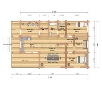 «Солнечногорск» — проект одноэтажного современного коттеджа для постоянного проживания из профилированного бруса под ключ