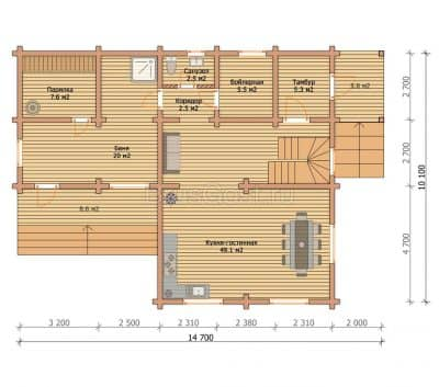 «Софрино» — проект современный красивый дом-баня из профилированного сухого бруса под ключ