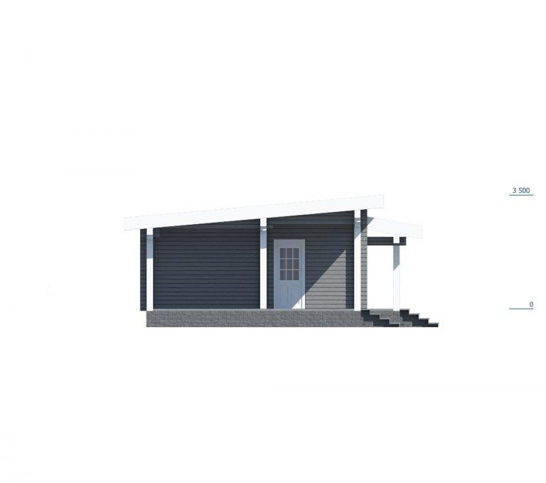 «Хотьково» — проект одноэтажного коттеджа из клееного бруса 6.4х13.9 м под ключ