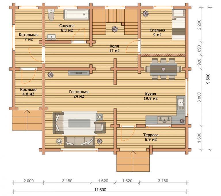 «Можайск» — проект двухэтажного коттеджа для постоянного проживания из сухого бруса под ключ